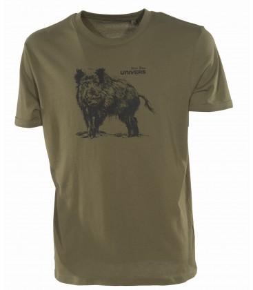 Koszulka T-shirt nadruk DZIK Univers, zielona,94055-358